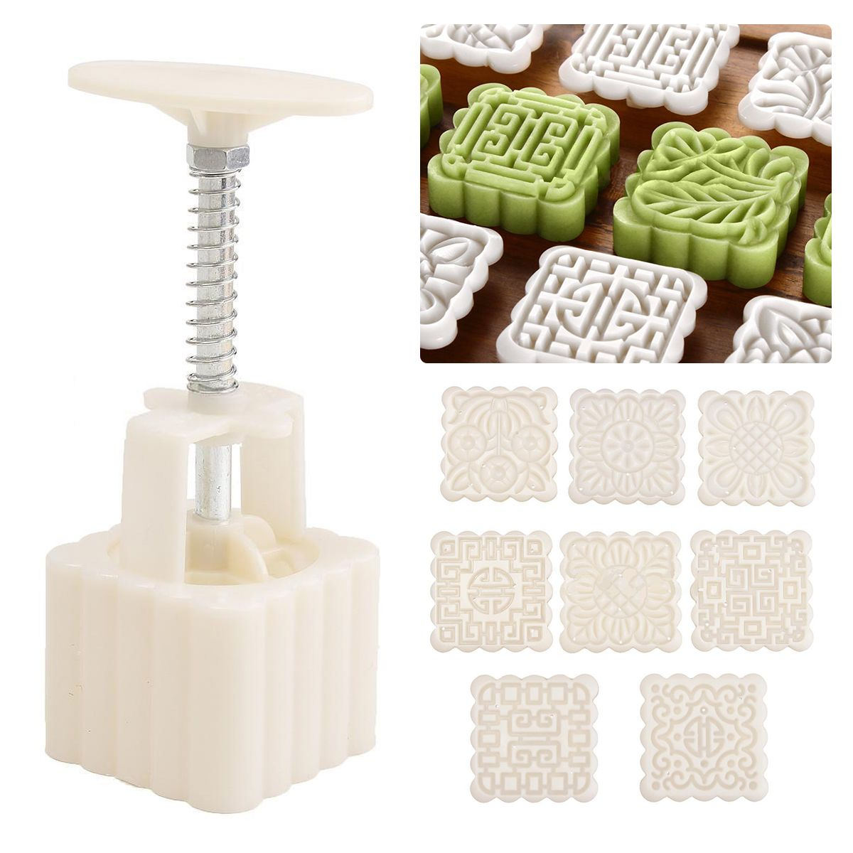 JX-LCLYL Square Baking Mooncake DIY Mold Pastry Biscuit Cake Mould Gadget With 8 Stamps