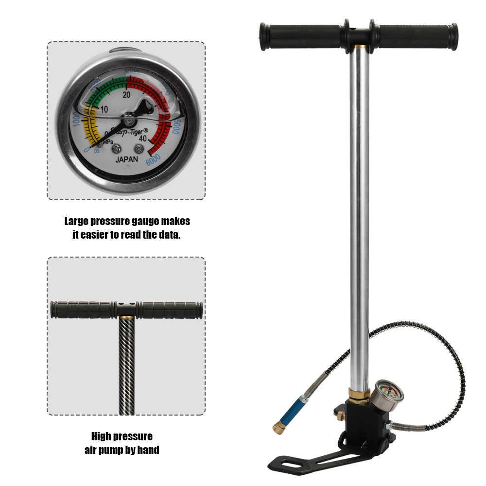 40Mpa 6000psi di Aria ad Alta pressione PCP Fucile Paintball pompa a mano Pompa di Aria Calibro di Pressione di Grandi Dimensioni Pieghevole di Base