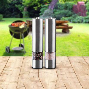 Image 2 - Elektrische Zout En Peper Slijpen Unit (2 Packs) Elektronisch Verstelbare Vibrator Keramische Molen Automatische One Handed