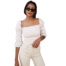 Vintage White Square Neck Smocked Blouse Shirt Women Puffed 3/4 Sleeve Crop Top Summer High Street Slim Blouse Blusas 2019 smocked neck fit
