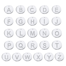 LIUANAN Stainless Steel Initial Charms CZ Letter Alphabet DIY Jewelry Making Accessories 26pcs/lot