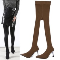 2019 Sexy Female Fashion Sock Boots Women's Large Size Shoes Stiletto 8 CM or 5 CM Heel Elastic Boots Two In One Pants Boots