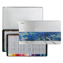 MARCO 7100 Prismacolor Wood Colored Pencils 72 Oil Iron box Professional Drawing pencils Sketch Art For School Supplies luxury professional pencil set 24 36 48 72 100 colored drawing pencils for sketch for adult and kids great art school supplies