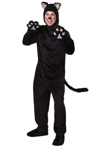 Image 4 - Black Cat Costume For Men Women Child Cosplay Parent child Costumes Attached Cuddly Animal Clothing Stage Performance Jumpsuits