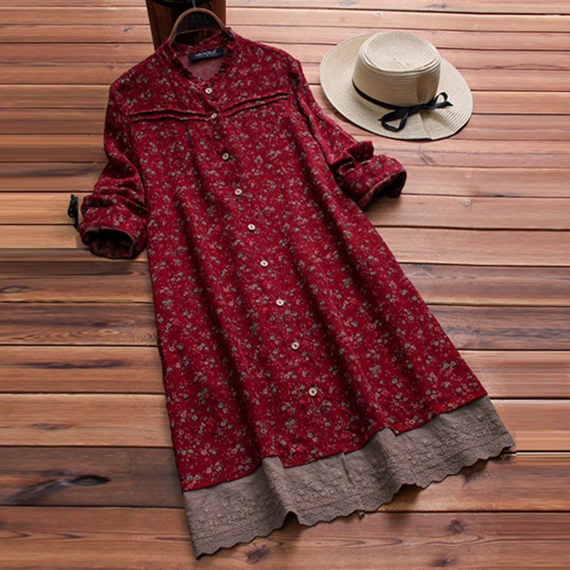 Vestidos Women Dress Long Shirt Dresses Plus Size Dress Patchwork Floral Print Ruffle Neck Buttons Vestido Bohemian Robe Femme