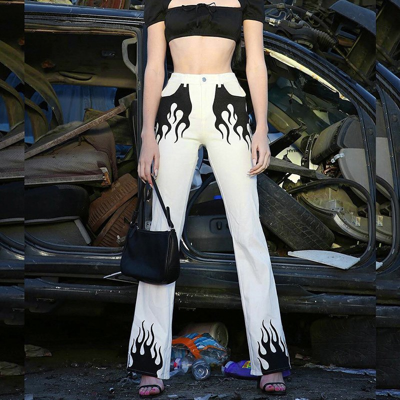 White Casual   Pant   Women Elegant Flared Trousers Fire Print Bell Bottom   Pants     Capris   Streetwear