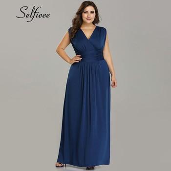 6e6683161 زائد حجم فساتين للنساء 4xl 5xl 6xl جديد تصميم خط V الرقبة البحرية الأزرق  فستان صيفي