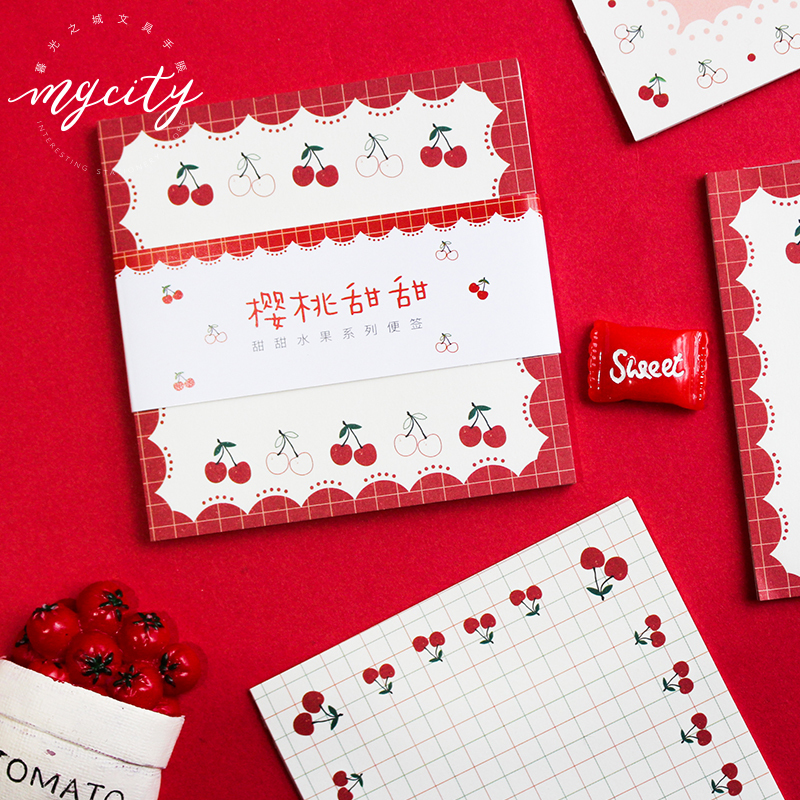SIXONE Sweet Fruit Memo Pad Decor Kawaii Strawberry Cherry Korean Note Paper Stationery Learning Office Reminder Notebook