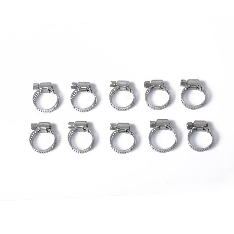 10pcs Worm Drive Hose Clamps Stainless Steel Fuel Pipe Clips Tube Fasteners 10-16/13-19mm/16-25/19-29mm/18-32mm/21-38mm/21-44mm
