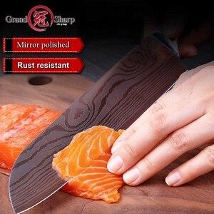 Image 4 - YENI Santoku bıçak yüksek karbonlu paslanmaz çelik japon mutfak bıçağı suşi sashimi sebze şef araçları kredi kartı hediye bıçak