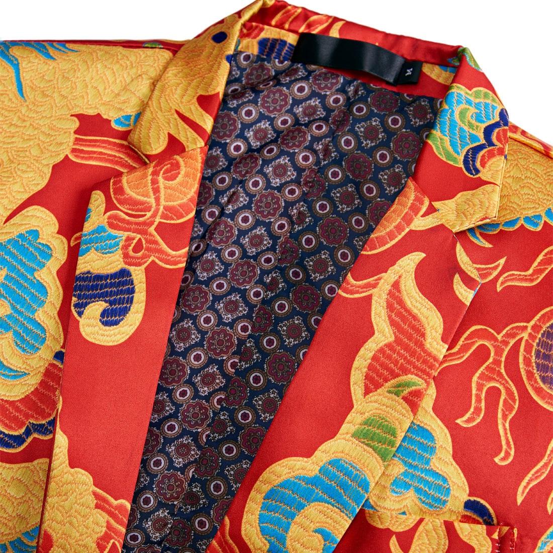 Erkek Kıyafeti'ten T. Elbise'de PYJTRL marka yeni çin tarzı kırmızı ejderha baskı takım elbise erkekler sahne şarkıcı giyim 2 parça Set Slim Fit düğün smokin kostüm Homme'da  Grup 3