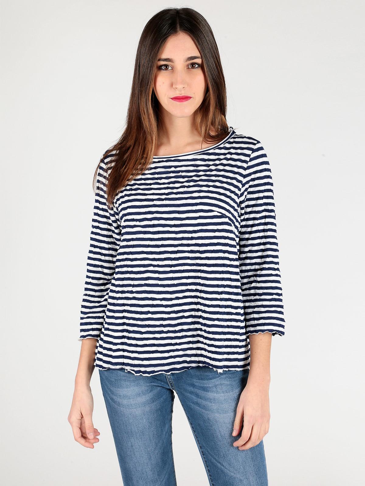 Black White stripe loose o neck long sleeve bottoming shirt tops