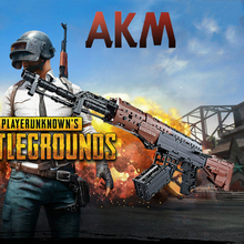 PUBG AKM Big SIze Gun Weapon Military With 2 Figures SWAT AK Signal Gun Model Building Blocks Brick With Soft Bullets Toys стоимость