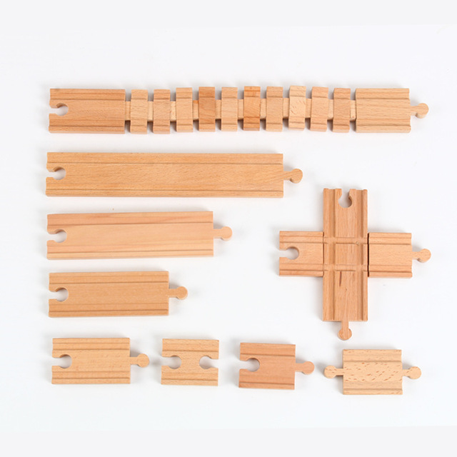 Wooden Train Track Accessories Railway Compatible with Wood Trains Wood Tracks Railway with All Brands Trains Toys For Kids