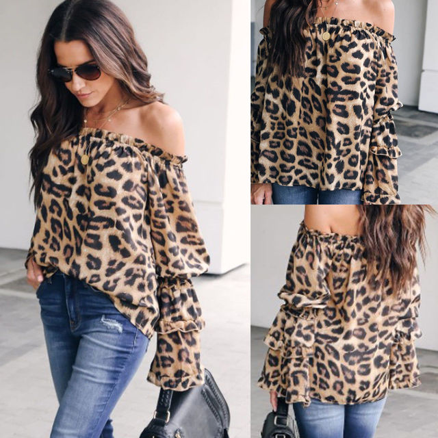 5cfbc0413abc2 Fashion Women Sexy Leopard Print Tunic Top Casual Loose Off Shoulder Long  Sleeve Tops