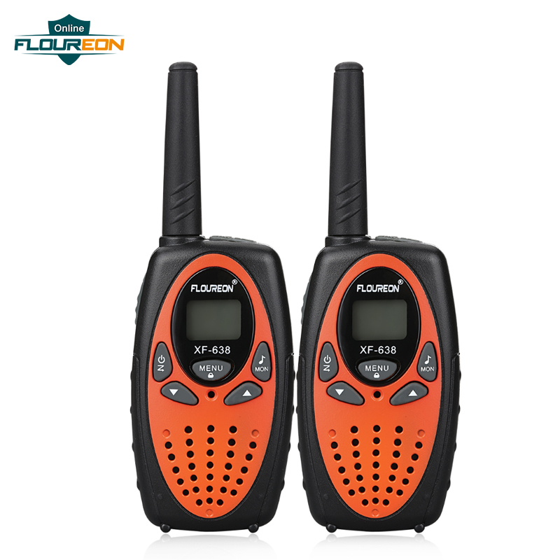 FLOUREON 8 Channel Kids Walkie Talkies UHF400-470MHz Two-Way Radio 3KM Interphone Orange EU/UK