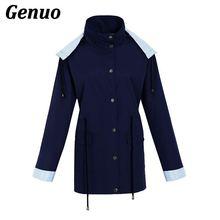 Genuo Winter Windbreaker Trench Coat Women Patchwork Femme Outwear Lady Waterproof Hooded Raincoat Overcoat