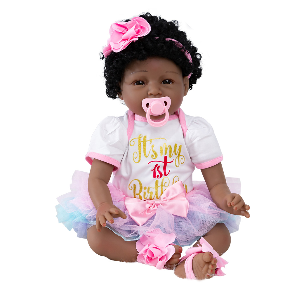 22 Inches Baby Soft Silicone Toy Girl Dolls Reborn Vinyl Toddler Appease Accompany Dolls Kids High Quality Children Toys Gift