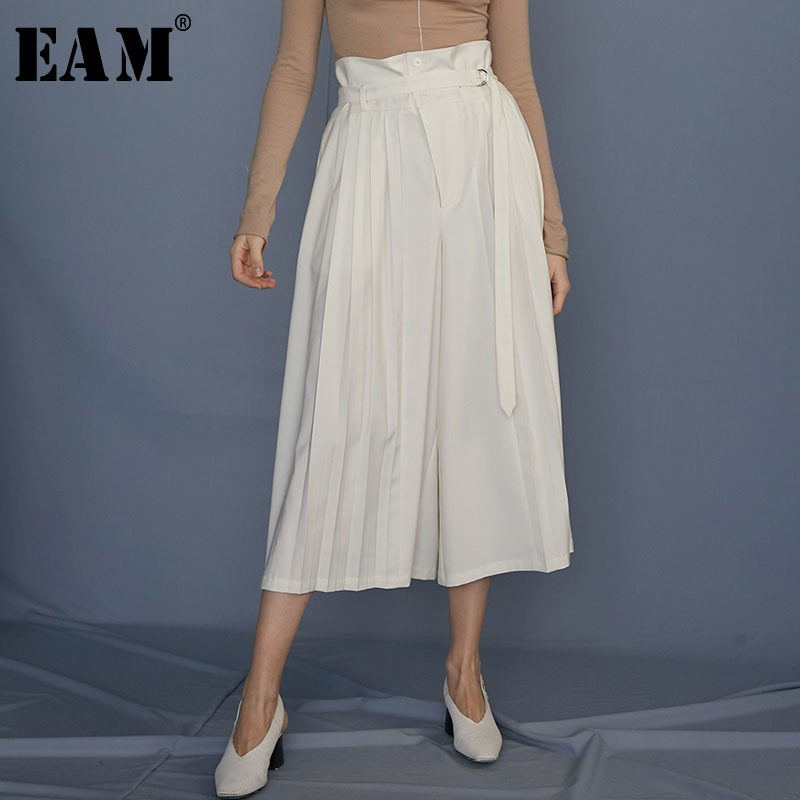 [EAM] 2019 New Spring Summer High Waist White Brief Pleated Stitch Loose Wide Leg Pants Women Trousers Fashion Tide JS800