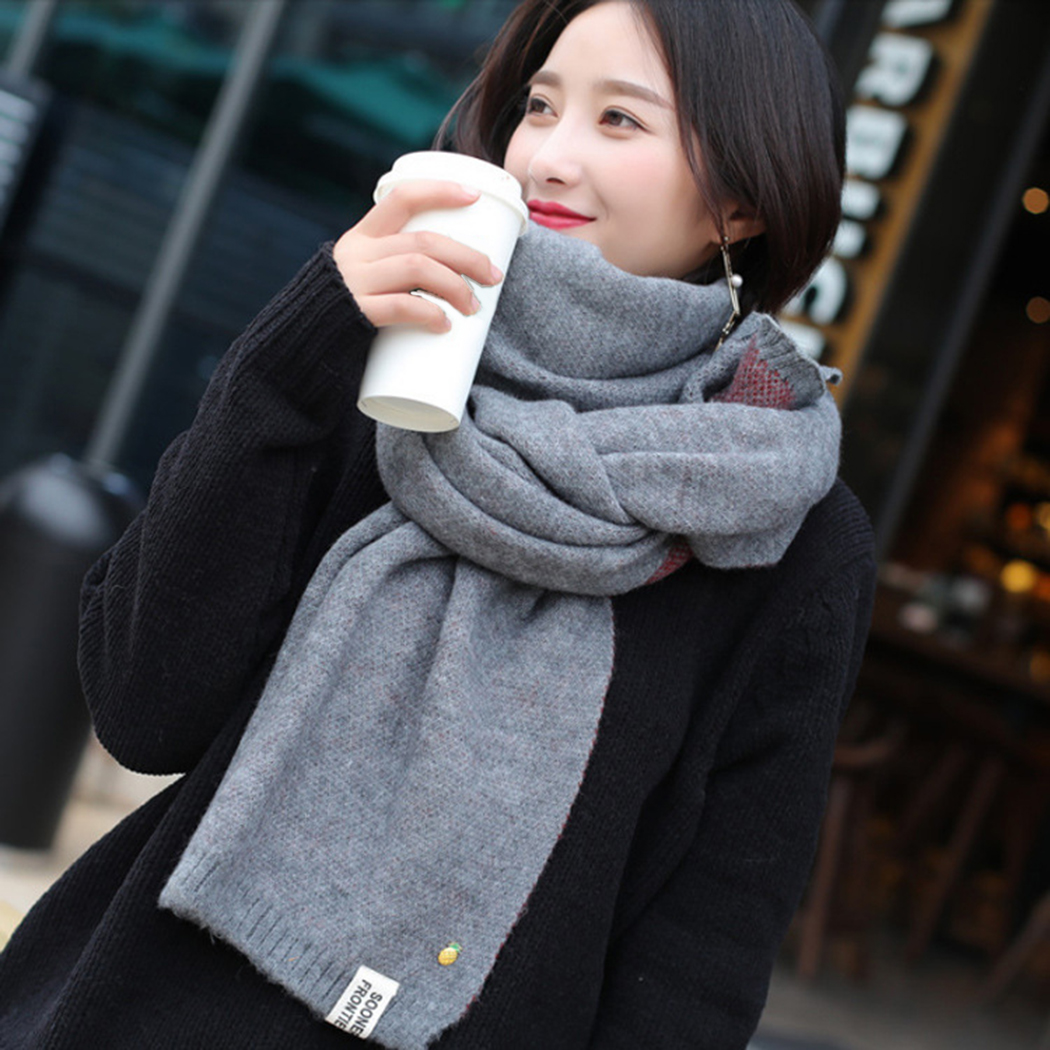 200*70cm Women Wool Knitted   Scarf   2018 Winter Warm Cashmere   Scarves   Shawl Oversized Female Solid Color Ladies   Scarf     Wrap   Foulard