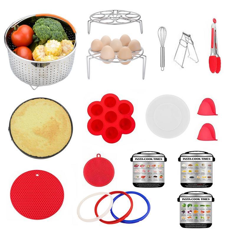 19 pièce autocuiseur électrique accessoires Pot instantané panier vapeur complément alimentaire boîte Silicone gants rouge