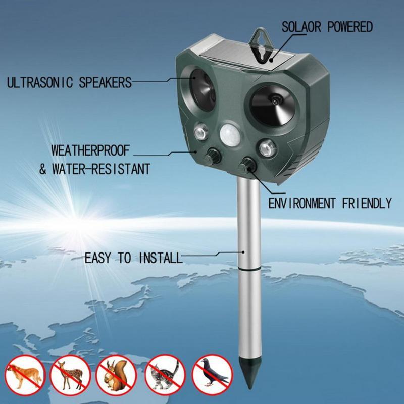 Répulsif antiparasitaire de souris de moustique d'énergie solaire répulsif de taupe ultrasonique extérieur de 5 V 500mA avec le matériel du plastique + métal