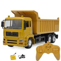 Alloy RC Engineering Car Model with Rechargeable Battery Electric Car Toy Simulation Dump Truck with Light Music for Children