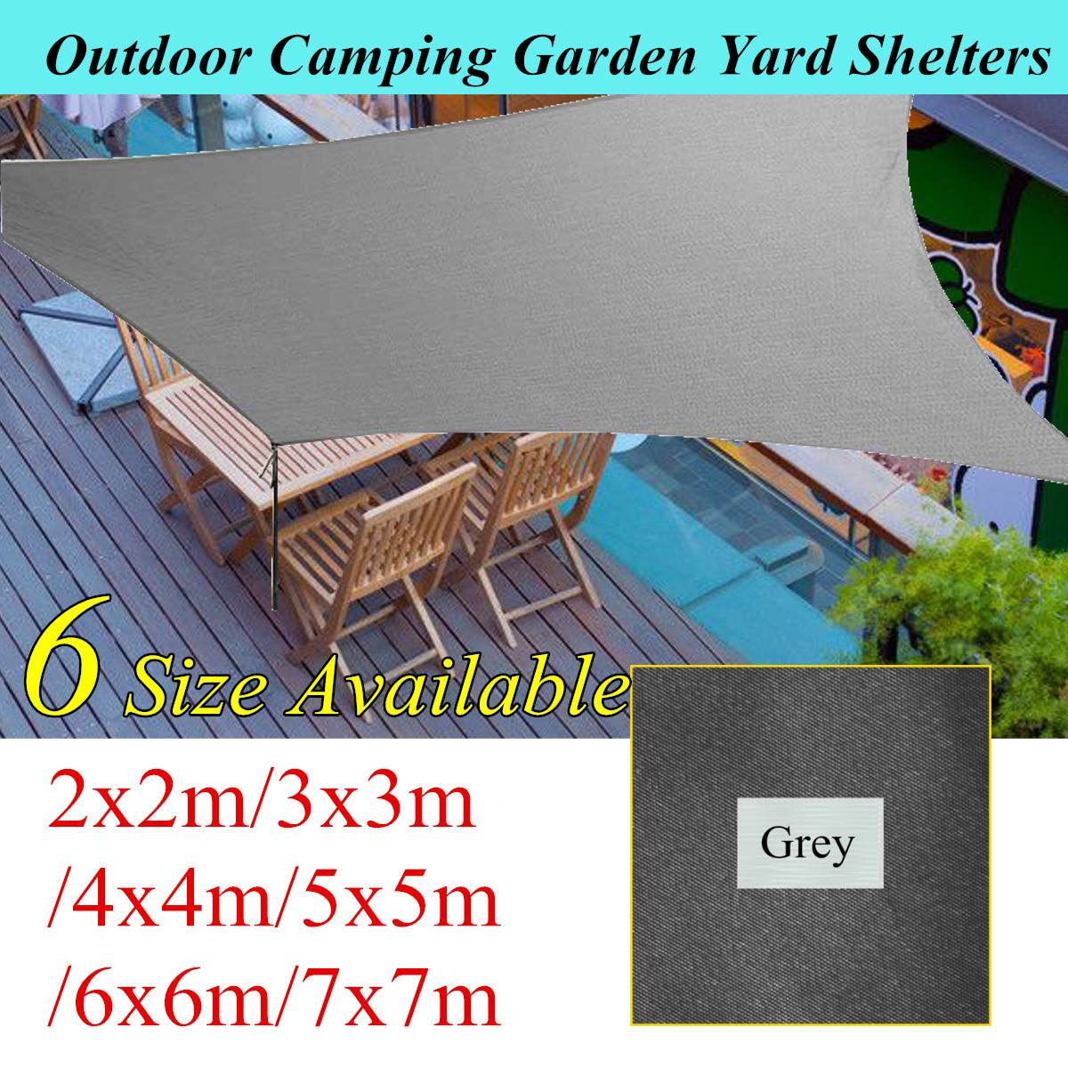 6 Sizes 90% UV Protection Waterproof Oxford Cloth Outdoor Sun Sunscreen Shade Sails Net Canopies Yard Garden Encrypted Canopy