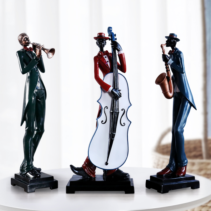 Resin Craft Negro Musician Music Band Statues For Decorations Creative People Ornaments Sculpture Home Decor Desktop Craft Gift