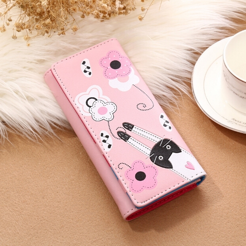 Womens Wallet Cartoon Cat Cute Lady Long Leather Hand Female Coin Purse