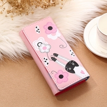 Women's Wallet Cartoon Cat Cute Lady Long Wallet Leather Hand Wallet Female Coin Purse wallet lady holding the purse 2017 new leather long pure color wallet wallet hand bag