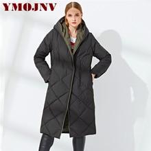 YMOJNV дизайн ромб узор зимнее пальто для женщин белая утка пуховик женский с капюшоном однобортный толстый теплый длинный парка