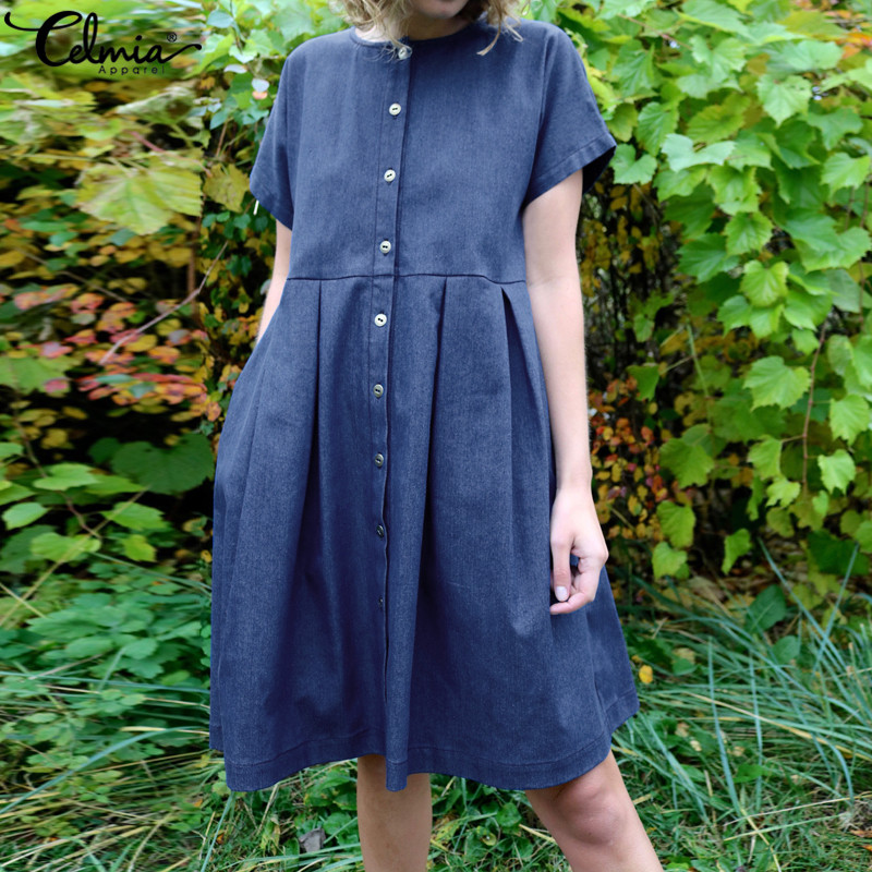 Celmia Women Denim Dress 2019 Summer Short Sleeve Buttons Down Shirt Dresses Casual Vestidos Pleated Loose Party Dress Plus Size