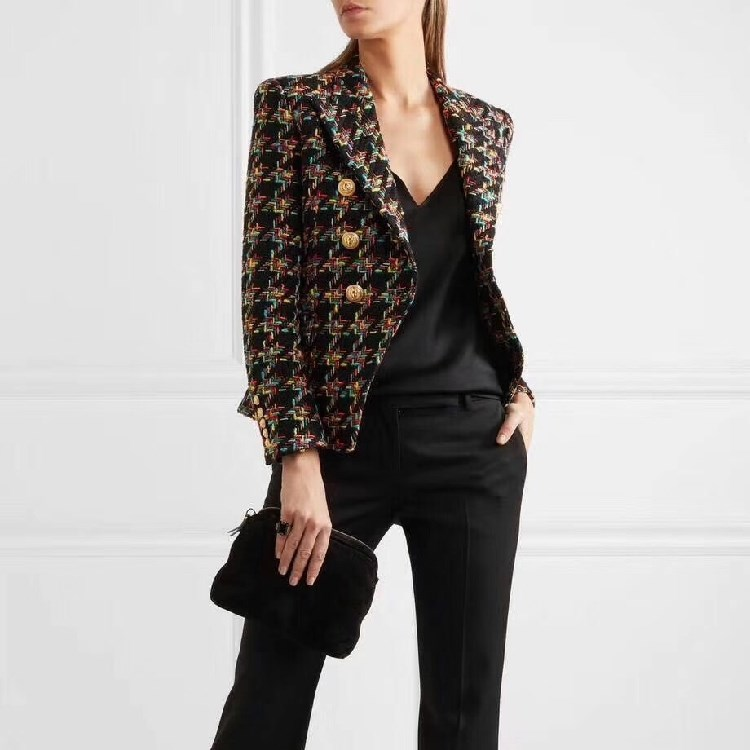 2019 New Designer Houndstooth Tweed Blazers Women Double-Breasted Lapel Blazer Notched Autumn Lady Long Sleeve Coats