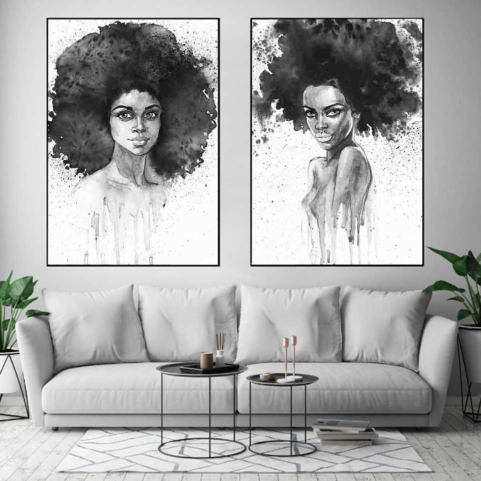 African Women Black and White Print Colored Poster Canvas Painting Tribal Wall Art Wall Pictures for Living Room Home Decoration