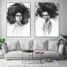 Черно белый цветной постер с Африканской женской печатью холст