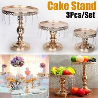 3Pcs/set Wedding Dessert Tray Cake Stand Holder Gold Mirror Surface Wedding Party Birthday Decoration Pan Cake Cookies Display