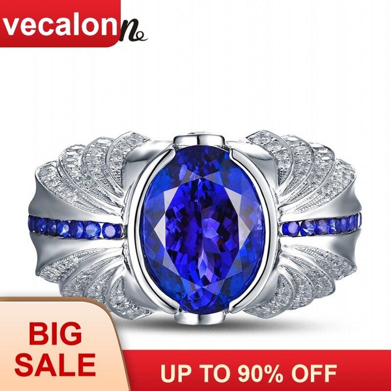 Vecalon Homens Do Projeto Do Vintage da moda Jóias wedding Band anel 5ct pedra 5A Zircon cz 925 Sterling Silver Engagement ring Finger