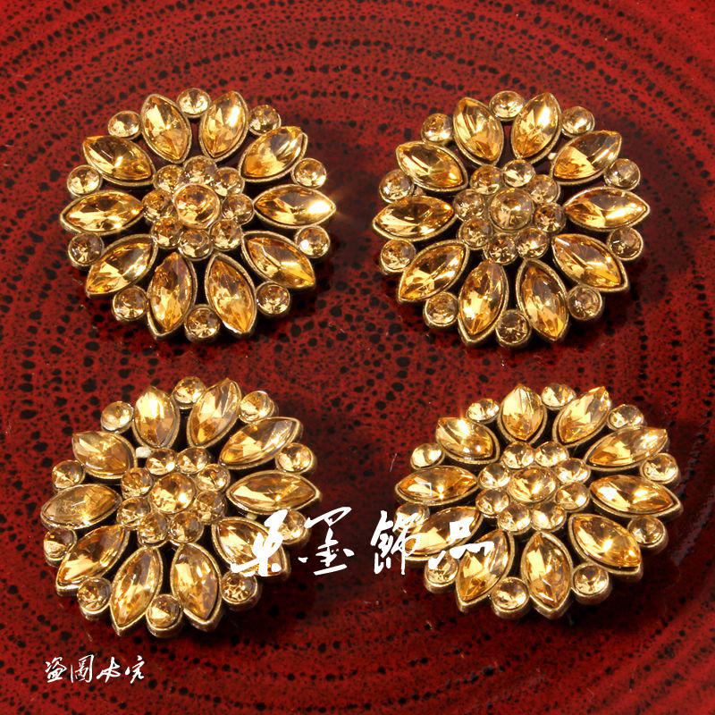 (120PCS/LOT) 28MM Gold Handmade Clear Alloy Rhinestone Button For Dress Bling Metal Crystal Sewing Button For Bridal Brooches