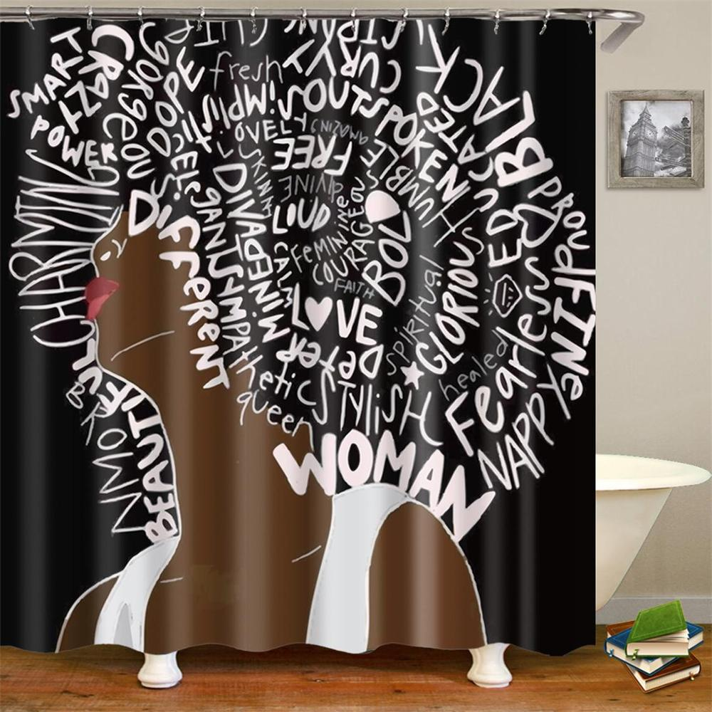 Afro Black Girl Shower Curtain African American Women -4633