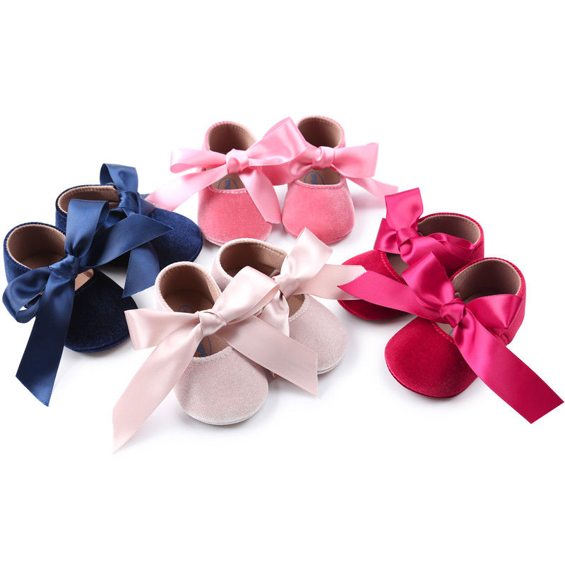 Pudcoco Girl Crib Shoes Baby Girls Bowknot Soft Sole Princess Party Shoe Soft Shoes Flats Shoes