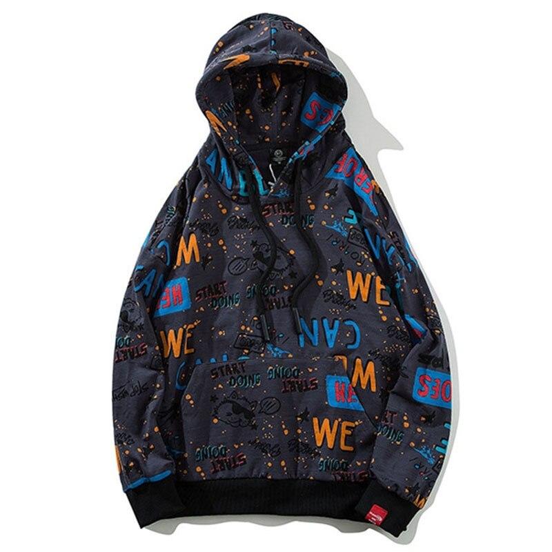 Sweat à capuche pour homme de haute qualité sweat à capuche pour homme drôle Graffiti lettre imprimé sweats à roulettes Streetwear Hip Hop Top pull vêtements en coton Q0182