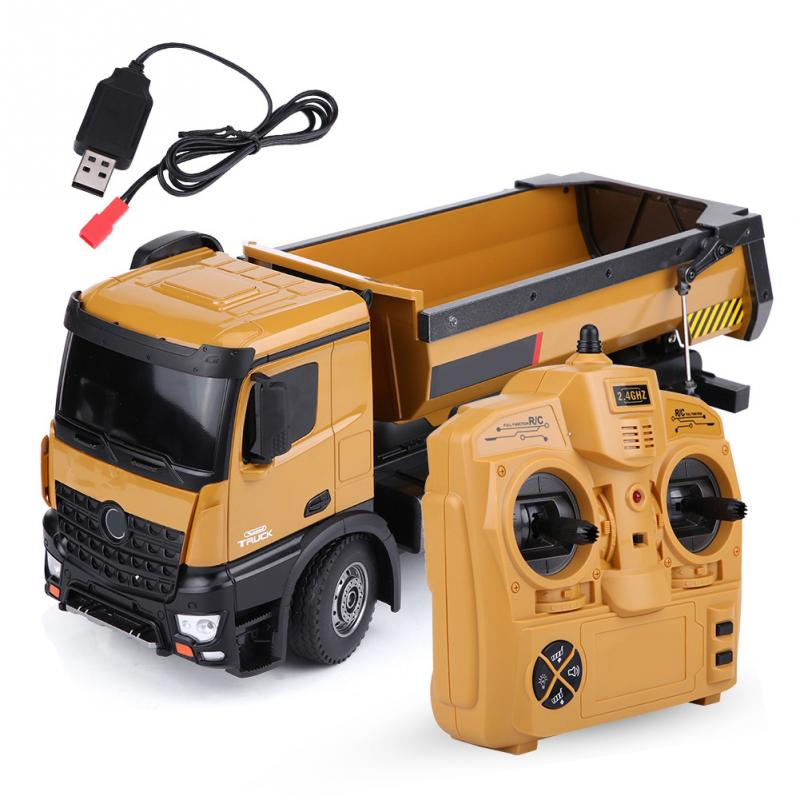 Hot Sale HUINA 1573 <font><b>1/14</b></font> Scale 2.4GHz RC Dumping Truck Remote Control Engineering Vehicle Toys For Children Kids Boys Gift image