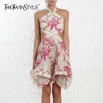 TWOTWINSTYLE Print Dress Female Off Shoulder Halter Backless Bandage Hollow Out Asymmetrical Dresses Women 2019 Sexy Fashion - DISCOUNT ITEM  44% OFF Women\'s Clothing