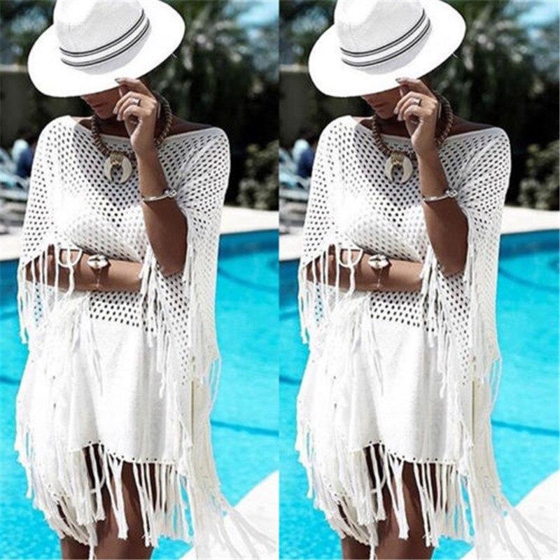Women Tassel Rents Crochet Bikini White Tops Brazilian Cover Up Swimwear Beach Dress Mini Kaftan Beachwear Tunic Sexy Swimsuit 1