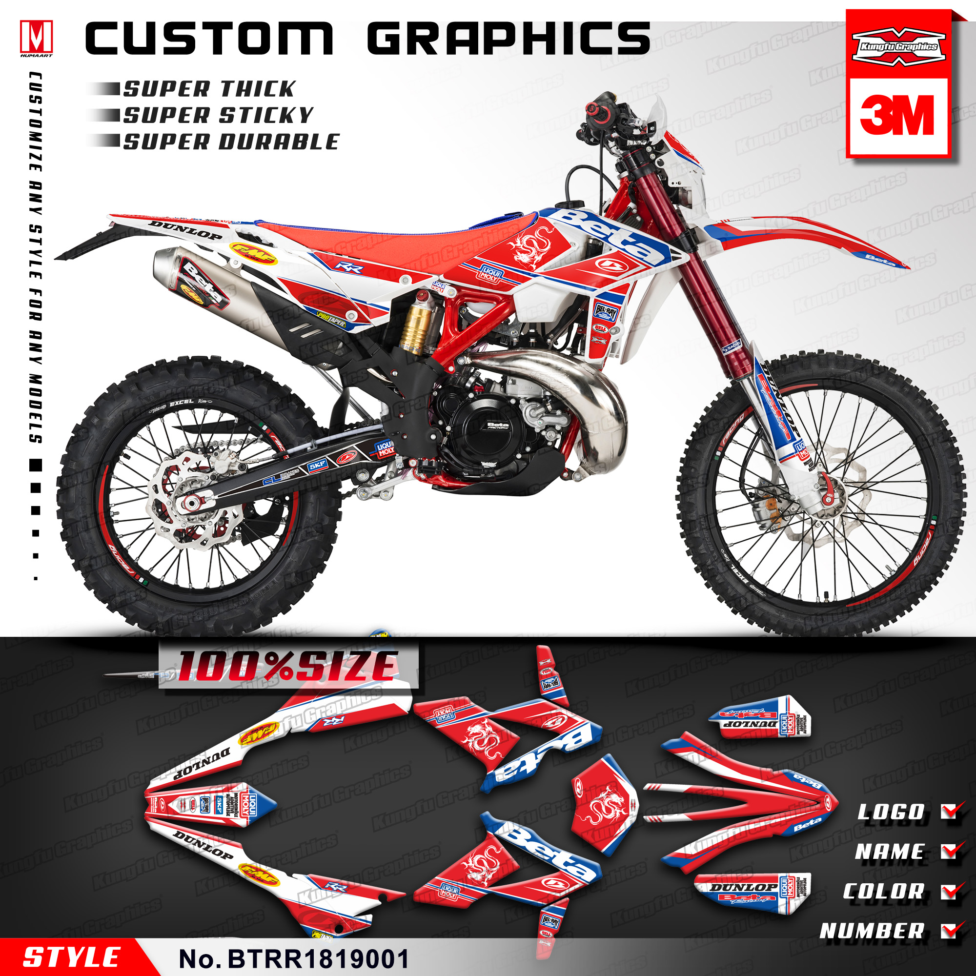 Us 139 89 kungfu graphics motocross custom stickers vinyl decals kit for beta 250 300 350 390 430 480 rr 2018 2019 style no btrr1819001 in decals