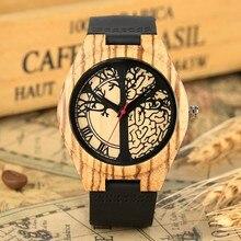 bfd42a24bde7 Retro reloj de madera de árbol de la vida de diseño reloj de hombre de moda  de cuero genuino Casual banda de cuarzo reloj de pul.