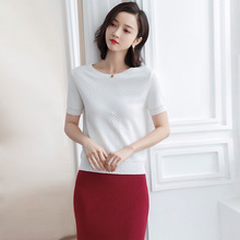 2019 spring and summer new early sweater t-shirts women short sleeved o-neck pullover top knitted t-shirt feminino F9920