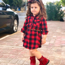 pudcoco Newborn Kids Baby Girls red casual Plaid Blouses & Shirts