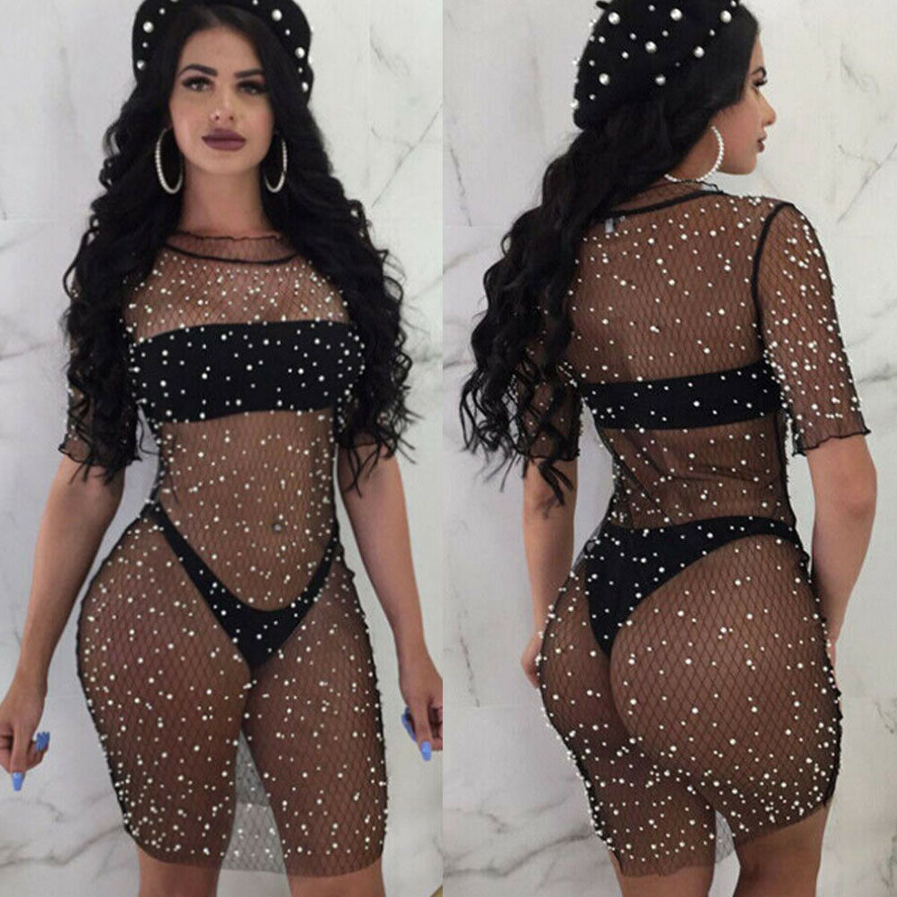 Sexy Women Bikini Cover Up Short Sleeve Lace Bikini Swimwear Women Beach Dress Black S M L XL